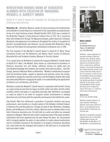 Winterthur Establishes Inaugural Wendell D. Garrett Award