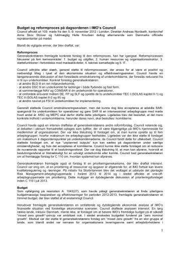 Læs referat af 109. rådsmøde - Søfartsstyrelsen
