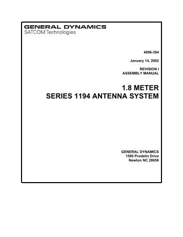 1.8 METER SERIES 1194 ANTENNA SYSTEM - General Dynamics ...