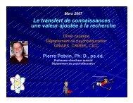 Le transfert de connaissances : une valeur ajoutée à ... - Pierre Potvin