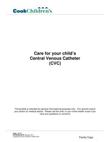Care for your child's Central Venous Catheter (CVC) - Cook Children's