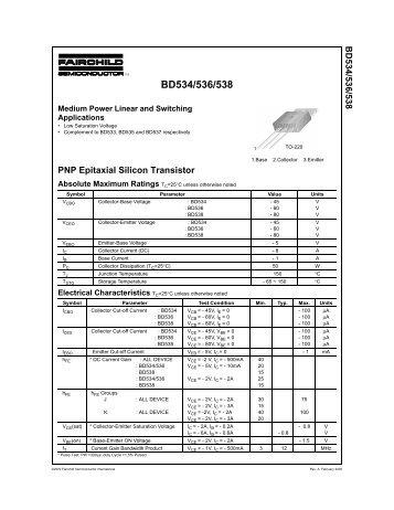 BD534/536/538 PNP Epitaxial Silicon Transistor