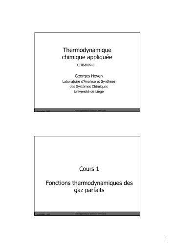 Chapitre 1 : rappels - systèmes idéaux - LASSC - Université de Liège
