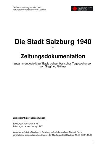 Zeitungsdokumentation 1940 Teil 1 - Stadt Salzburg