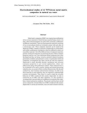 Electrochemical studies of Al 7075/zircon metal ... - Ultrascientist.org