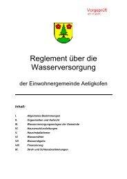 Reglement über die Wasserversorgung der ... - Aetigkofen
