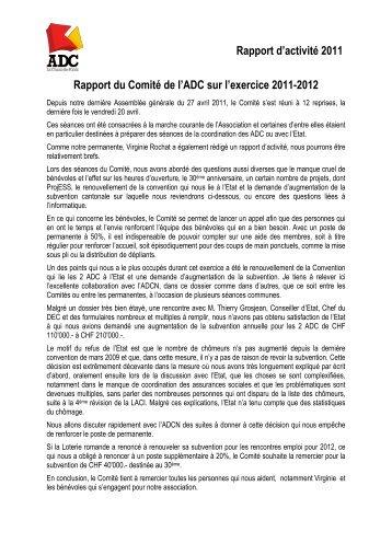 Rapport d'activité 2011 Rapport du Comité de l'ADC sur l'exercice ...