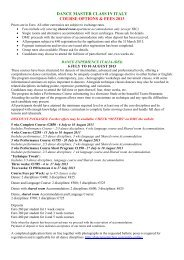 DANCE MASTER CLASS IN ITALY COURSE OPTIONS & FEES 2013