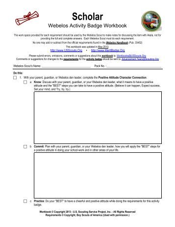 Webelos Scholar Badge Worksheet - Worksheets