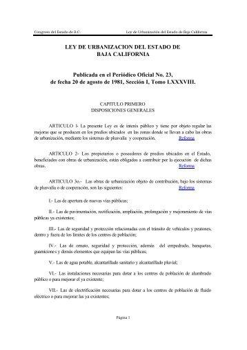 Ley de Urbanización del Estado de Baja California - Tijuana