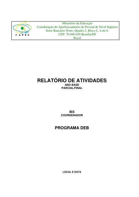 Relatório parcial enviado à Coordenação Geral do Pibid-IFSP em ...