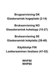 Brugsanvisning DK Glaskeramisk kogeplade (2-14) Bruksanvisning ...