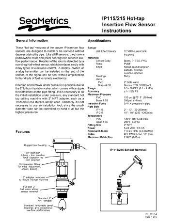 "IP115/215 Hot-Tap Paddlewheel insertion flow meter for 2""to 48"""
