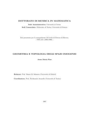 dottorato di ricerca in matematica geometria e topologia degli spazi ...