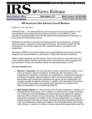 IRS Announces New Advisory Council Members - Internal Revenue ...