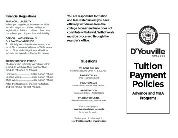 Tuition Payment Policies - ADVANCE (PDF) - D'Youville College