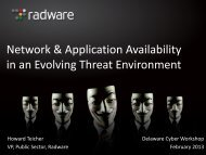 Network & Application Availability in an Evolving Threat Environment