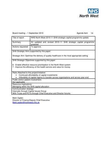 Board meeting – 1 September 2010 Agenda Item ... - NHS North West