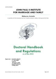 Doctoral Handbook and Regulations - John Paul II Institute for ...
