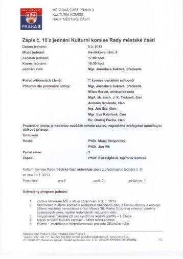 Zápis č. 10 z jednání Kulturní komise Rady městské části ... - Praha 3
