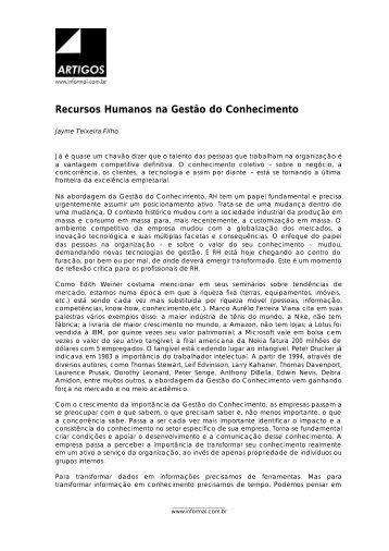Recursos Humanos na Gestão do Conhecimento - Wiki