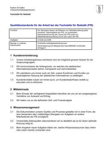 Qualitätsstandards der Fachstelle für Statistik (15 kB, PDF)