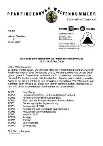 stammes Kurz Info 02-10 - Wilde Gesellen in Coburg