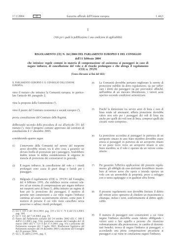 Regolamento (CE) n. 261/2004 - EUR-Lex