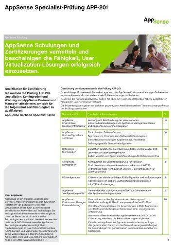 AppSense Specialist-Prüfung APP-201 AppSense Schulungen und ...