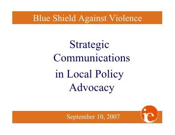 Strategic Communications in Local Policy Advocacy - Blue Shield of ...