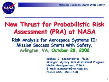 New Thrust for Probabilistic Risk Assessment (PRA) at NASA New ...