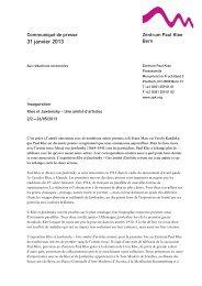 Communiqué de presse (PDF) - Zentrum Paul Klee