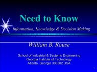 Need to Know Information, Knowledge & Decision Making