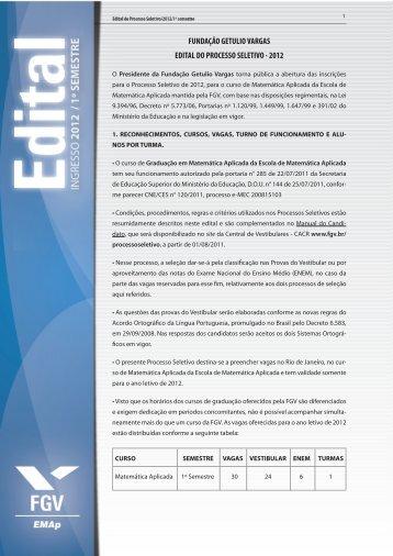 fundação getulio vargas edital do processo seletivo - 2012