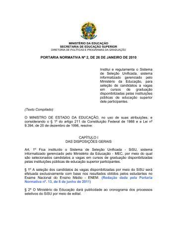 PORTARIA NORMATIVA Nº 2, DE 26 DE JANEIRO DE 2010
