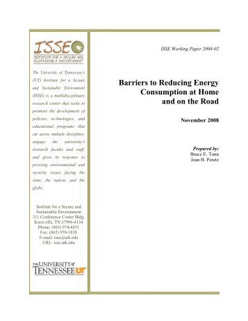 Barriers to Reducing Energy Consumption at Home and on the Road