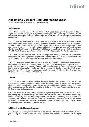 Allgemeine Verkaufs - TRIMET Aluminium SE