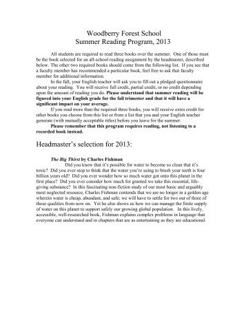 View the summer reading list - Woodberry Forest School