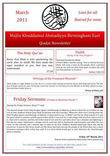 March 2011 - Majlis Khuddamul Ahmadiyya UK Majlis Khuddamul ...