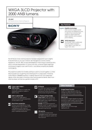 VPL-BW7 Datasheet.indd - Videoprojektor.hu | projektor, vetítővászon
