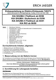 Einbauanleitung zu Elektro-Einbausatz 749375 KIA SHUMA I ...