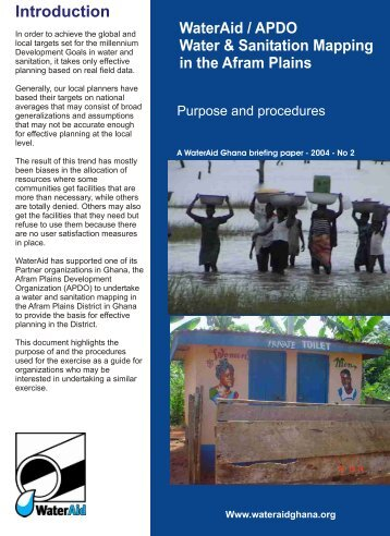 Water and sanitation mapping by Afram Plains ... - WaterAid