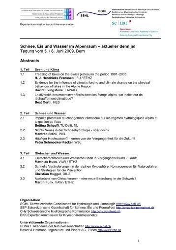 Tagung vom 5. / 6. Juni 2009, Bern Abstracts - CHy - SCNATweb