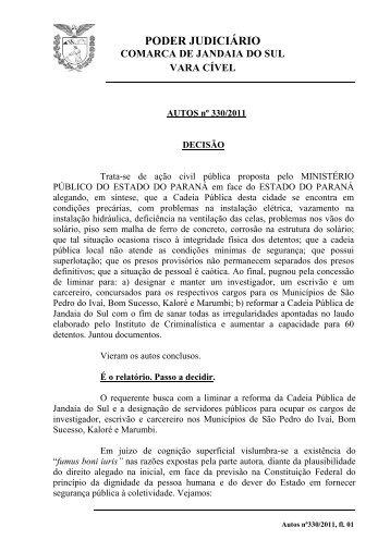 PODER JUDICIÁRIO - Ministério Público do Paraná
