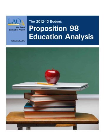 Proposition 98 Education Analysis - Legislative Analyst's Office