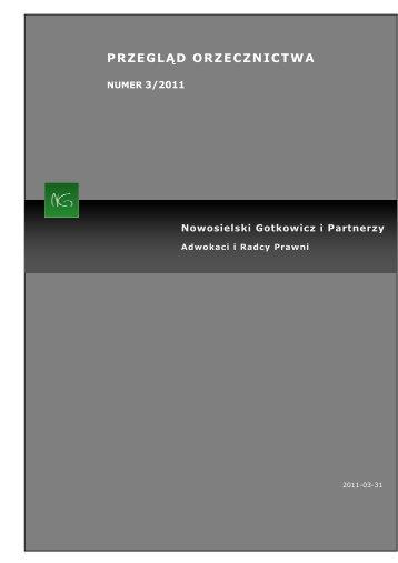 Kancelaria NG przegląd orzecznictwa 03.2011 - Pracodawcy Pomorza
