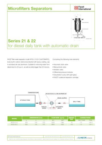 Series 21 & 22 for diesel daily tank with automatic drain