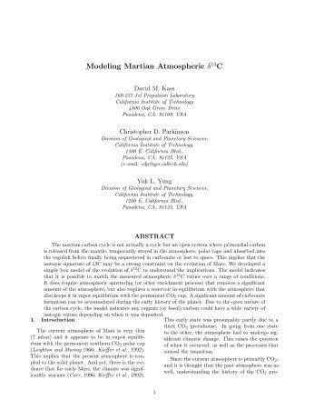 Modeling Martian Atmospheric δ C - Caltech