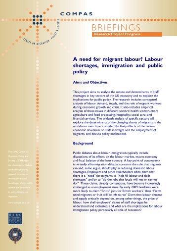 A need for migrant labour? Labour shortages ... - COMPAS