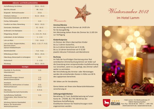 Winterzauber 2012 - Advent,Weihnachten,Silvester - Hotel Lamm